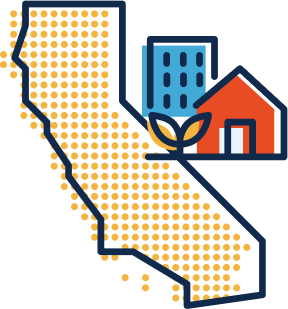 Icon of the state of California with a house, and apartment building, and a plant.