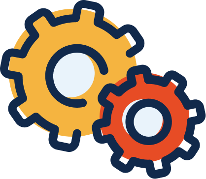 An icon of 2 gears working together.